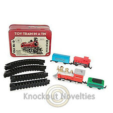 Toy Train In a Tin 16 Piece Set Small Trains Build Tracks Gift Battery Operated