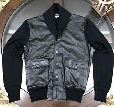 Ralph Lauren Black Label Shawl Leather Skeet Jacket Sz Medium BLACK Made n Italy