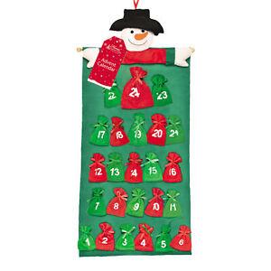 Christmas Snowman Advent Calendar 24 Fabric Pockets Add your own Treats