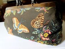 Vtg Naturalizer Butterfly Tapestry East West Doc Bag Wood Handles Beaded Canvas