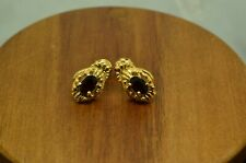 18K YELLOW GOLD OVAL RED GARNET DROP DESIGN STUD EARRINGS