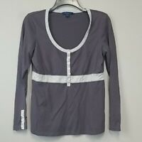 Boden long sleeve henley half button colorblock long sleeve knit top size 12