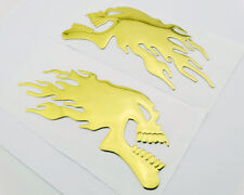 3D Raise Gold Flaming Skull Skeleton Emblems Badge Decal Oil Tank Fairing Fender