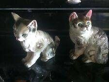 Vintage 2 large playful ceramic cat figures #14