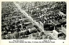 1940s Real Photo PC W.State Street Library Post Office Bank City Hall Olean NY