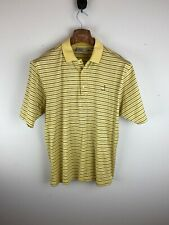 Augusta National Golf Shop Mens Polo Shirt L Large Yellow Stripe Pima Cotton
