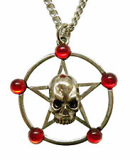 Real Metal Jewelry	Skull Pentacle w Red Stones Necklace