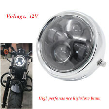 "High/low Beam Head Light 6.5"" Metal LED Headlight Retro Motorcycle Cafe Racer"