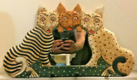Wood Hand Painted Folk Art Three Cats Mirror Wall Decor with Wooden Hooks