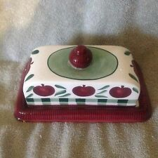 CERAMIC BUTTER DISH BURGUNDY, IVORY AND GREEN WITH APPLES household kitchenware