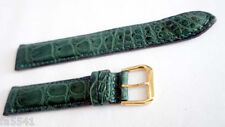 Genuine ALLIGATOR watch band GREEN color 17 mm Padded & Stitched* Made in ITALY