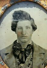 ANTIQUE VICTORIAN AMERICAN HANDSOME YOUNG MAN CRAZY HAIR BOW TIE AMBROTYPE PHOTO