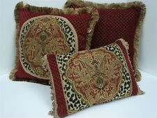 Set of 3 Plush Damask Animal Print Chenille Decorative Pillows