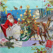 3 Servietten Vintage Shabby Nikolaus Weihnachtsmann Schlitten Vögel Christbaum