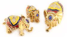 3 Elephants Jewelry Trinket Box Animal Collectible Elephant Thailand Gift 02054