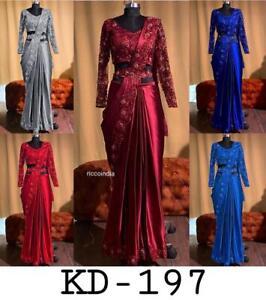 Designer Satin Silk Saree Floral Unstitched Running Blouse For Bridal Bridesmaid Wear Sari Blouse