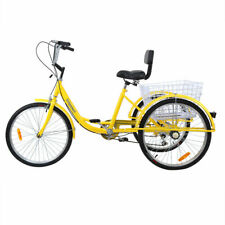Ridgeyard 24'' Adult Tricycle Trike 3-Wheel Shimano 7 Speed 6 Gears yellow