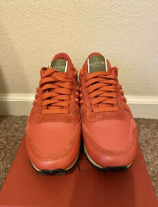 New Auth Valentino Garavani Studded Women Rockrunner Sneakers Orange 35 5 $695