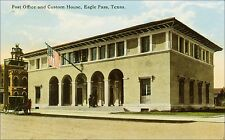 Post Office and Custom House, Eagle Pass, TX. Pre-1920. Horse Drawn Carriage.