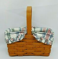 Longaberger Rectangular Basket 1990 with Wooden Handle and Plaid Fabric Liner