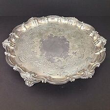 ANTIQUE SILVER SHEFFIELD PLATED SALVER OR TRAY by THOMAS BRADBURY & SONS