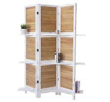 Separè paravento 3 pannelli in legno con mensole