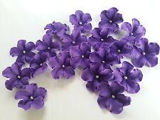 Edible Sugar Purple Veined Flowers Silver Balls Cupcake Cake Topper 20 Wedding