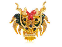 Bright Fierce Colorful Topaz Red Green Rhinestone Dragon Head Adjustable Rings