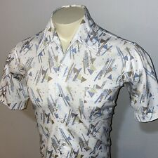 Vtg 60s 70s Disco Shirt Mr. California Abstract Stretch Polyester Mens Medium