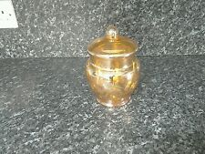 Gold Lustre type glass jar with lid and engraving floral design