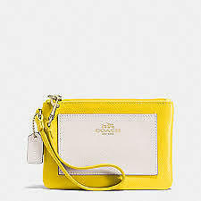 Coach Wristlet F53142 Crossgrain Bicolor Leather Small Wristlet Yellow Agsbeagle