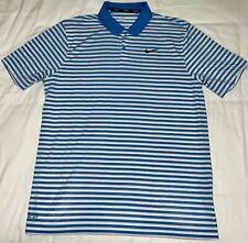 Nike Golf Blue White Striped Rugby Performance Polo Shirt Men's Medium