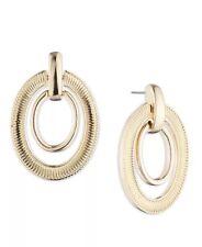 lauren ralph lauren earrings textured oval link orbital drop gold tone brand new