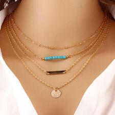 Fashion Charm Turquiose Strip Round Pendant Chain Choker Statement Necklace