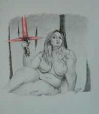 Framed 8x8 drawing of nude woman holding kylo ren light saber/Star Wars