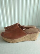 Next Tan Brown Leather Cork Wedges 5 38 Superb Condition 70s sandals shoes