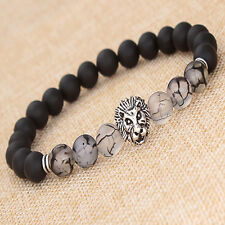 "SILVER LION MEN'S BLACK MATTE AGATE HEAD BEADS BRACELET 7.5""/8MM BEADS"