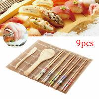 9PCS Sushi Making Kit Bamboo Rolling Mat Sushi Maker Set Gift for Beginners New