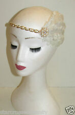 Ivory White Gold Feather Headpiece Vintage 1920s Headdress Headband Flapper M40