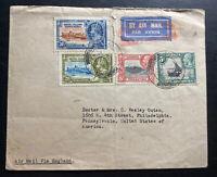 1936 Moshi British KUT Airmail Cover To Philadelphia PA USA Jubilee Stamps