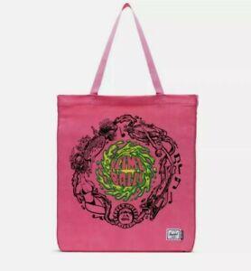 Herschel Supply Co Santa Cruz Graphic Tote Bag Skateboard Slime Balls Neon Pink