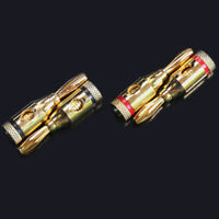 1/10x 24k Gold Plated Speaker Banana Plug Adapter Audio Jack Connector Cable 4MM