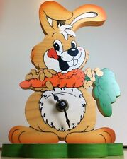Bartolucci Wood Bunny Rabbit Stand Up Mantel Desk Clock made in Italy