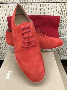NEW Christian Louboutin Chorale Corazon Red Suede Lace Shoes Oxford Derby EUR41