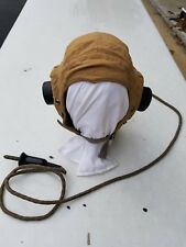 WW2 RAF British Summer Mesh Cloth Flight Helmet w/ Receivers Size 2