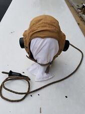 WW2 RAF British Summer Mesh Cloth Flight Helmet w/ Receivers Size 2