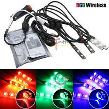 4X RGB LED Strip Lights Wireless Control For Car Bike Headlights Demon Eye Mods