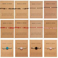 Fashion Womens Card Bracelet Rope String Adjustable Bangle Lucky Jewelry Gifts