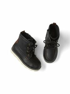Baby Gap NWT Toddler Boys Black Genuine Leather Hiker Boots 6 7 $55