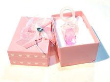 Objet de collection bébé  baptême tétine sucette cristal rose